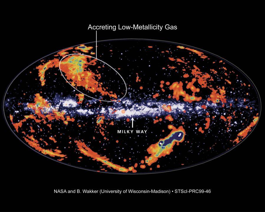 """27 triệu năm sau công nguyên. Các nhà thiên văn thông báo một đám mây khí hydro khổng lồ đang tăng tốc và có thể sẽ va chạm với dải Ngân hà. Mang tên """"Đám mây của Smith"""" (Smith's Cloud) có thể tạo ra một cảnh tượng pháo hoa ngoạn mục khi va đập với Dải Ngân Hà của chúng ta trong vòng 20 – 40 triệu năm tới. Họ tin rằng đám mây này chứa đủ lượng hydro để sinh ra hàng triệu ngôi sao như mặt trời. Khi nó tiếp xúc hoàn toàn với thiên hà của chúng ta, đám mây có thể khởi đầu cho sự bùng nổ những sao mới hình thành trong dải Ngân hà."""