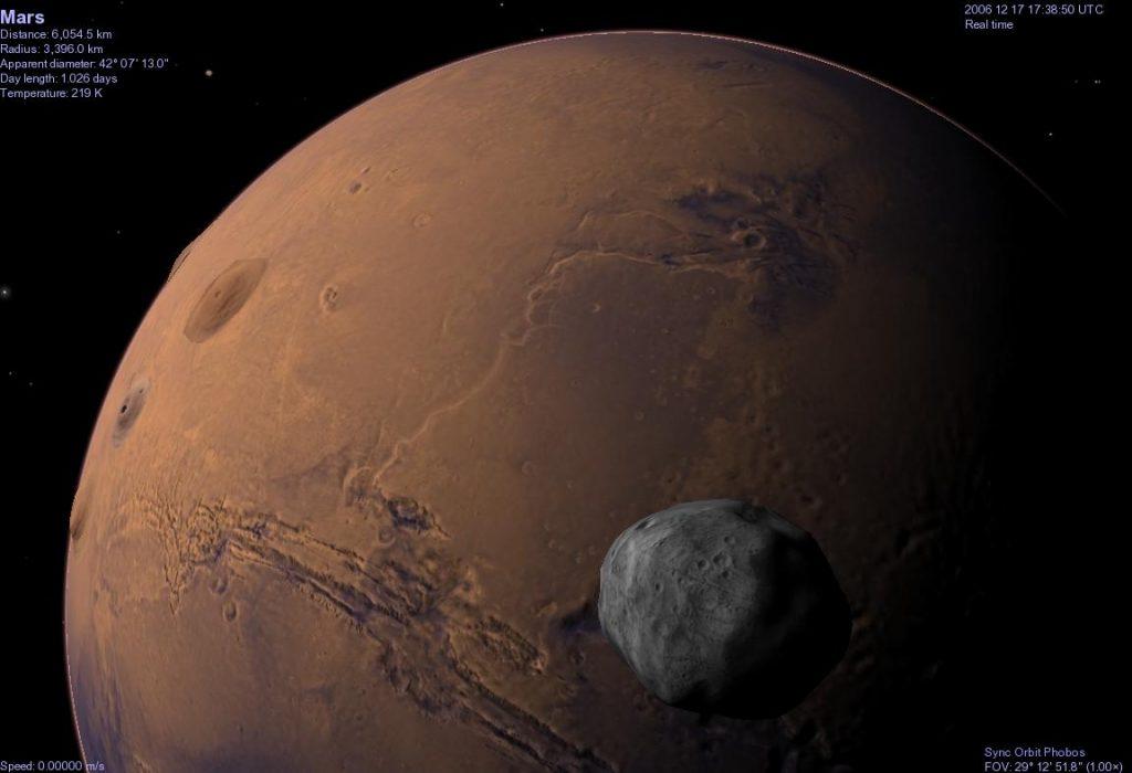 7,6 triệu năm sau công nguyên. Vệ tinh Phobos của sao Hỏa bị hành tinh này bóp nát bởi trọng lực. Do có quỹ đạo ngắn hơn của Sao Hỏa một ngày nên cứ một thế kỷ, vệ tinh này lại tiến lại gần sao Hỏa 20 mét. Đến năm 7,6 triệu Phobos sẽ tiến đến giới hạn Roche - là một khoảng cách gần nhất mà hai thiên thể có được. Nếu vượt qua khoảng cách đó, thiên thể nhỏ hơn trong hai thiên thể sẽ bị vỡ vụn. Tương tự với Triton, vệ tinh lớn nhất của Sao Hải Vương.