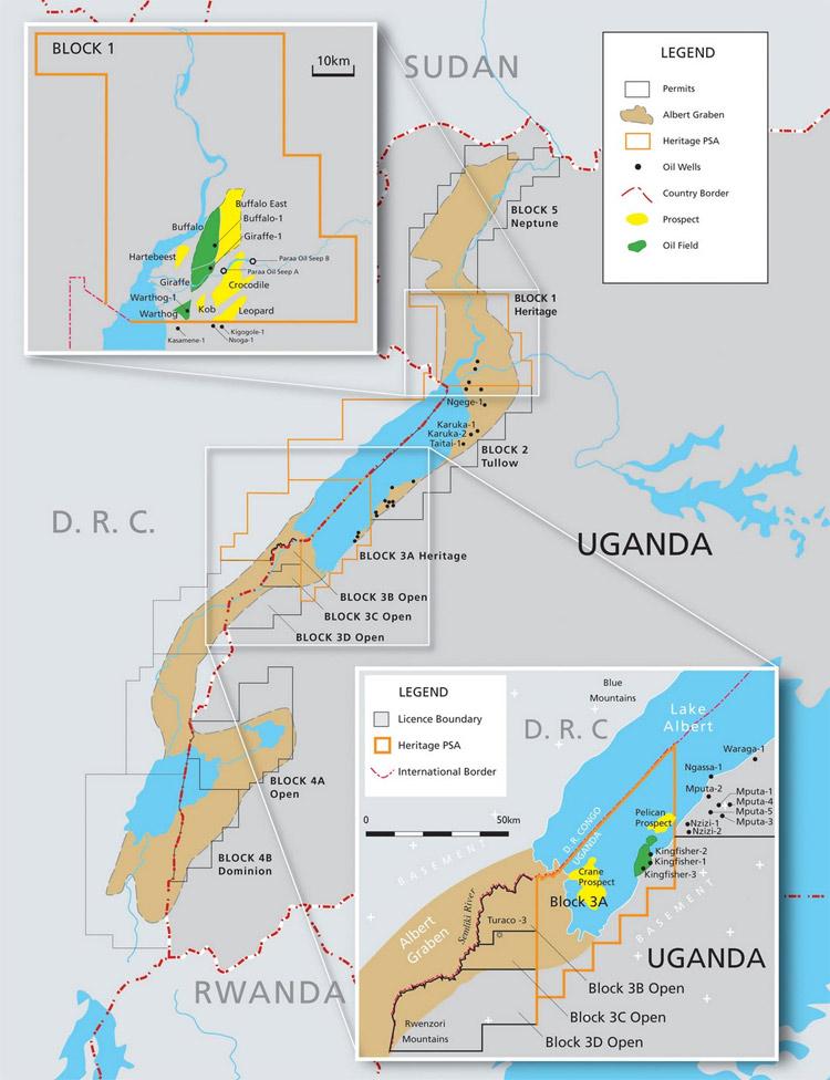 2018: Năm 2006, Uganda chính thức tìm thấy các mỏ dầu với trữ lượng lên đến gần 4 tỷ thùng. Năm 2013, nước này đã đạt được thỏa thuận xây các đường ống dẫn dầu và nhà máy lọc dầu với một số tập đoàn từ Anh, Pháp và Trung Quốc và sẽ chính thức đi vào sản xuất năm 2018.