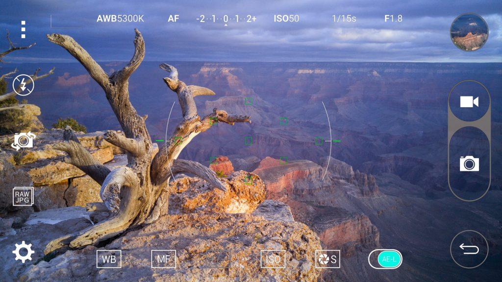 Giao diện phần mềm chụp ảnh trên chiếc LG G4.