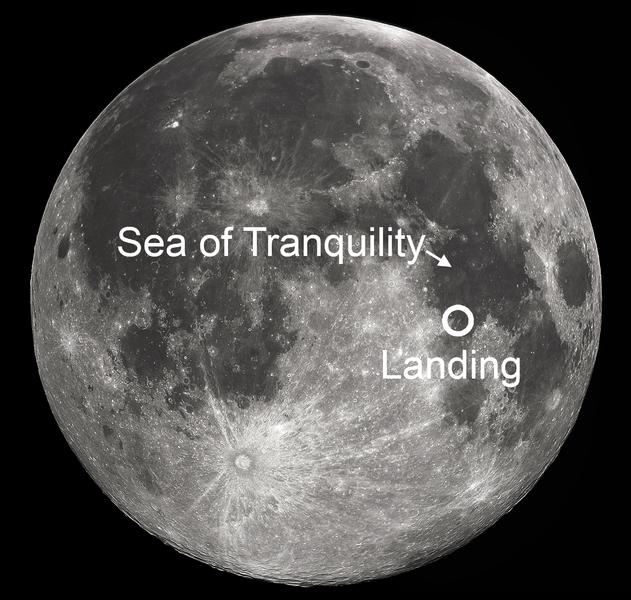 Đích đến dự kiến (Biển Tranquility) và nơi tàu Apollo 11 đáp thực tế.